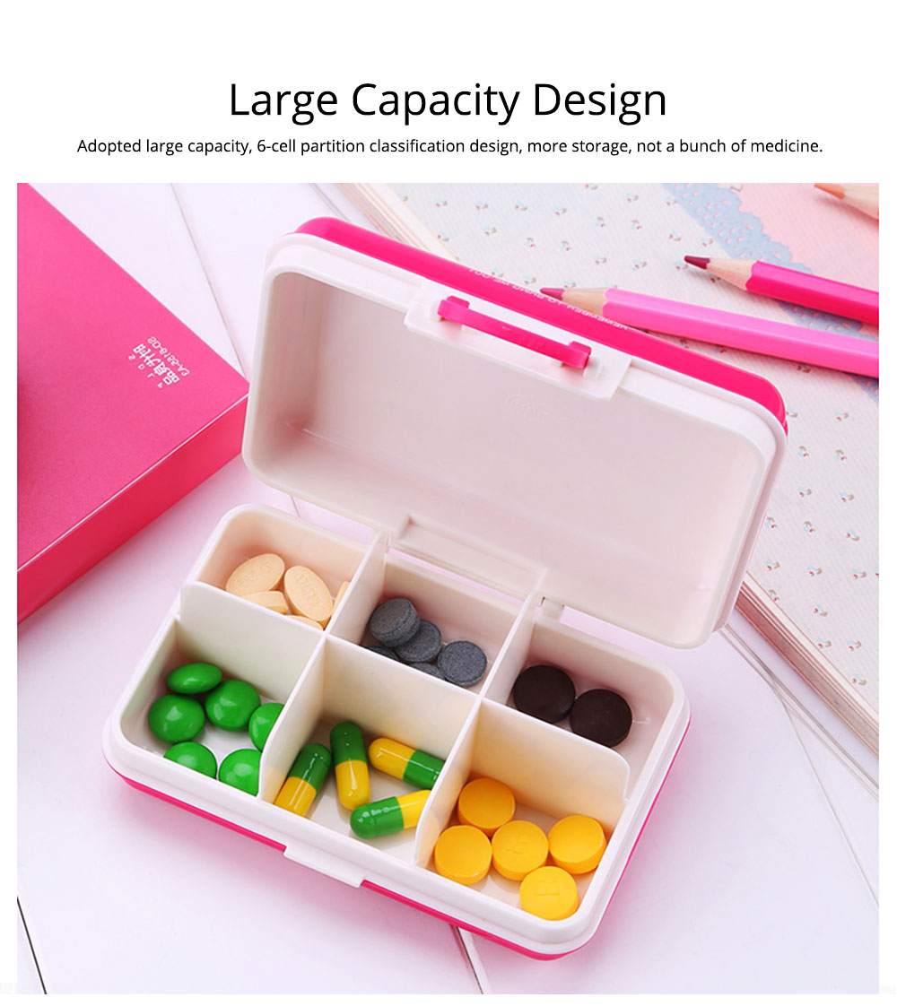 Portable 7-day 6 High Partition Pill Box with Suitcase Style, Large Capacity Moisture-proof Pill Case 1