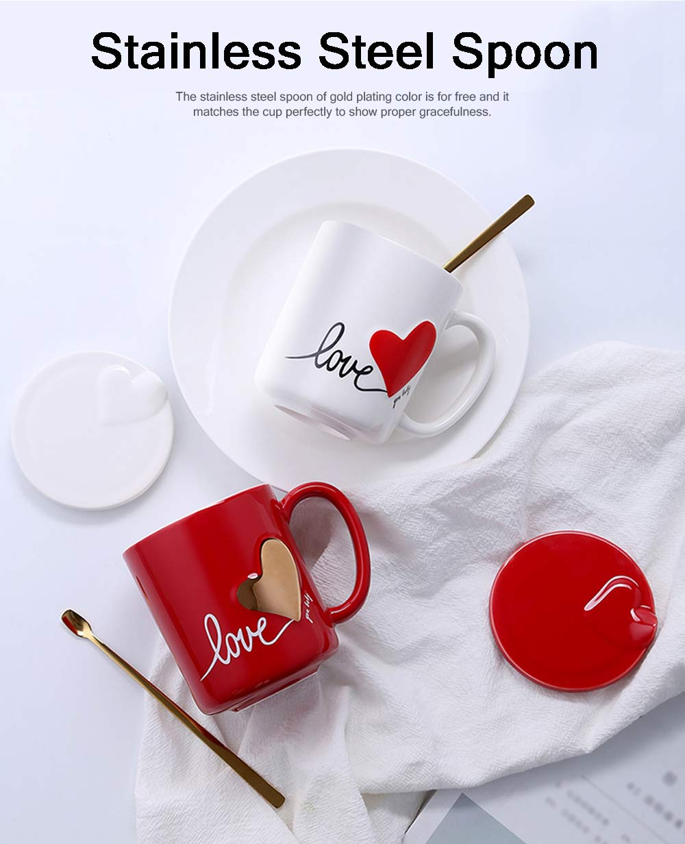 Cute Simple Ceramic Mug with Cover and Spoon, Dishwasher safe, Gifts for Lover 9