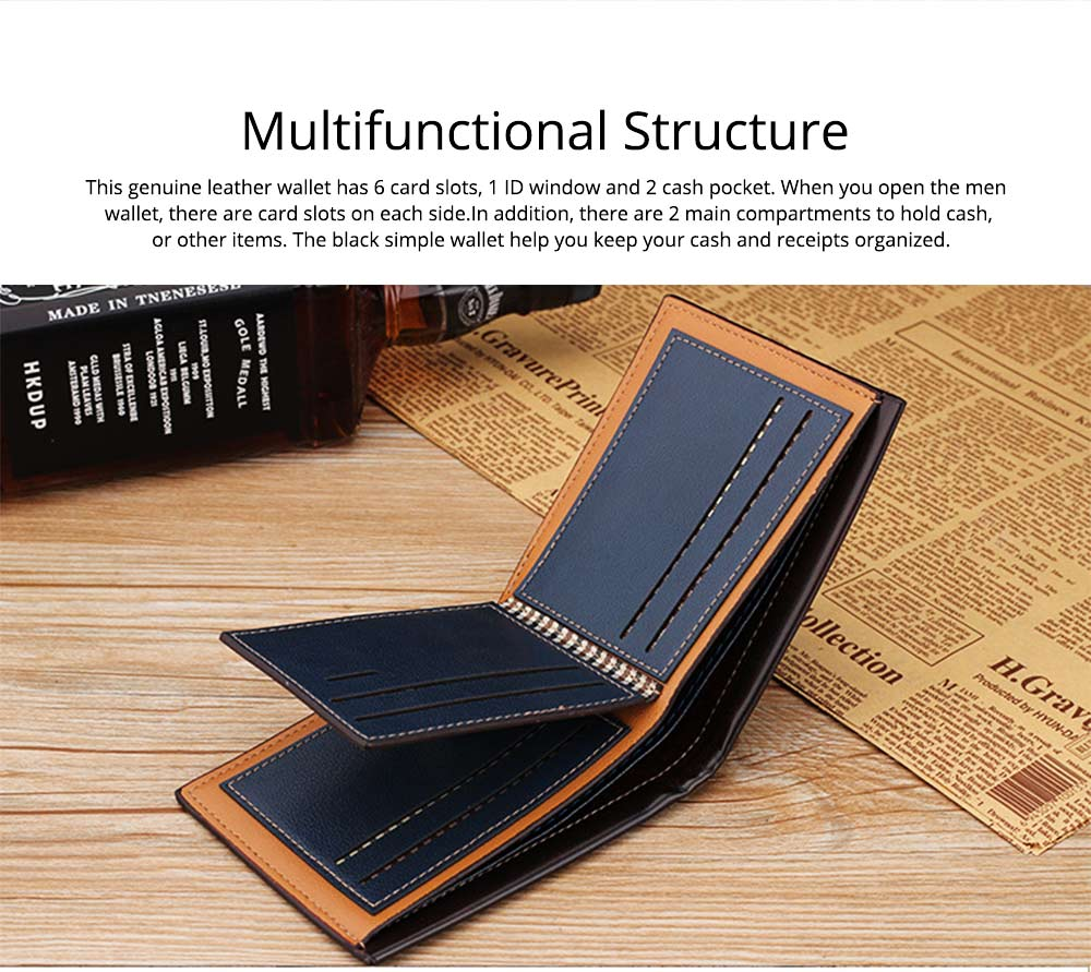 Business Style Genuine Leather Frosted Wallet with Two-folding and Multiple Cards Design for Men 4