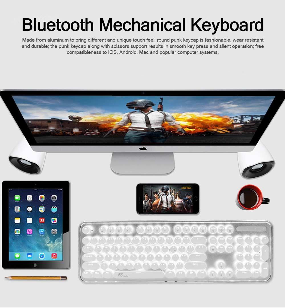 Bluetooth Mechanical Keyboard for Android iPhone, Retro Punk Bluetooth Mechanical Keyboard Android Game Keyboard Light Computer Accessories 0