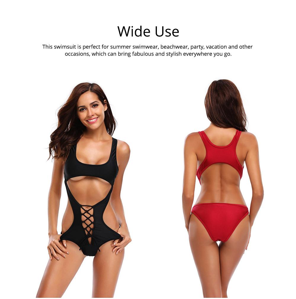 Solid Bikini Swimsuit with One-piece Design, Black Cutout Sexy Bikini, Skin-friendly Comfortable Swimwear 6