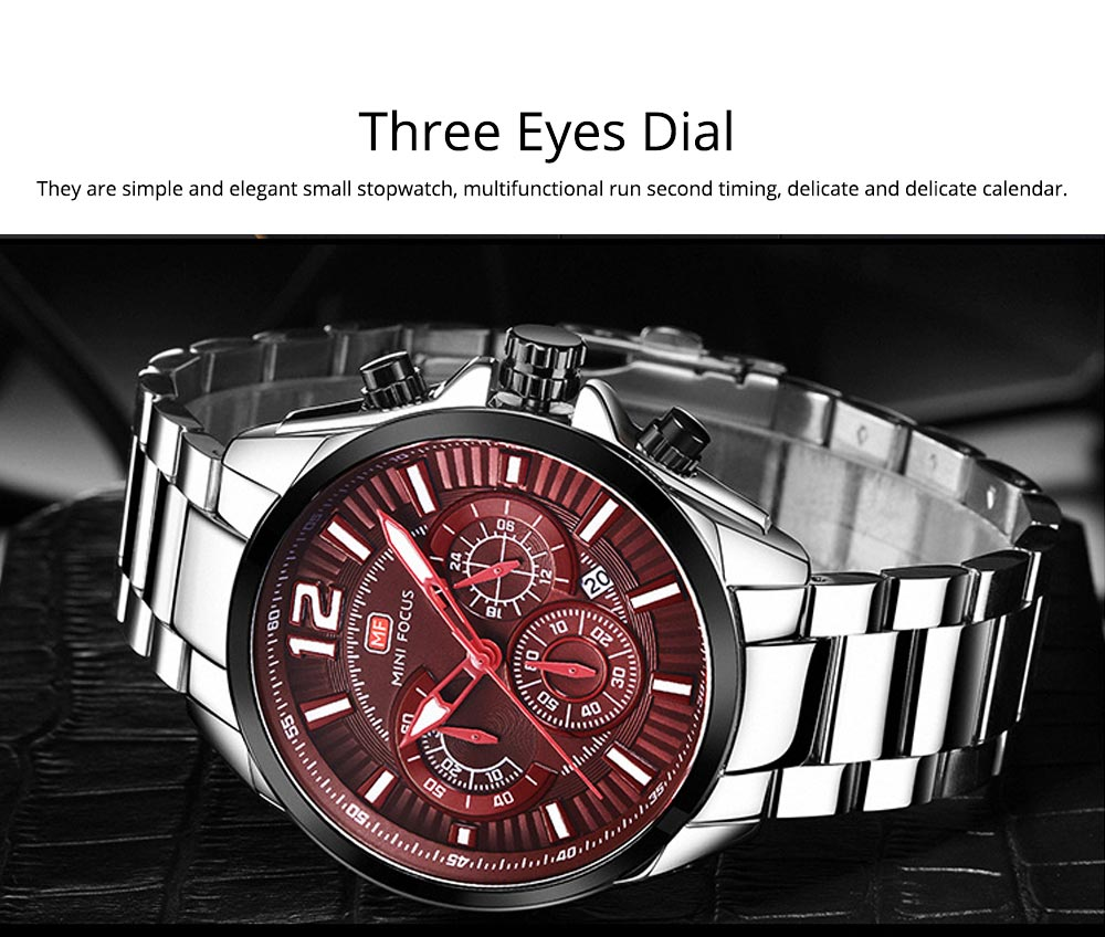 Men's Sports Watch with Luminous Mode, Water-poof Digital Watches with Metal Strap 2