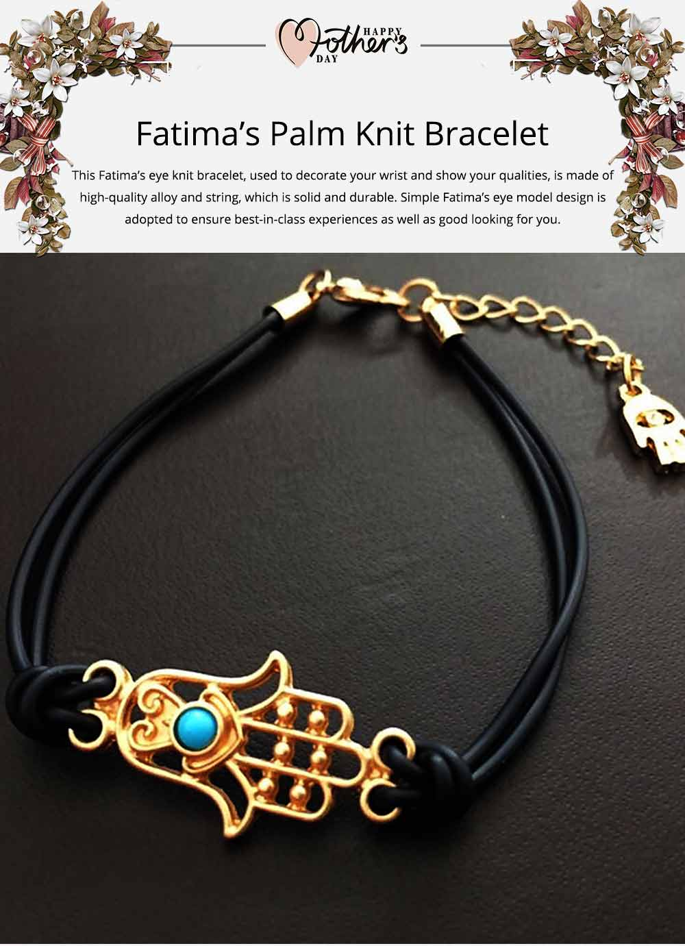 Simple Minimalist Stainless Knit Bracelet, Fatima's Palm Model Decoration Delicate Stylish Hand Chain Bangle Accessories for Men Ladies Women 0
