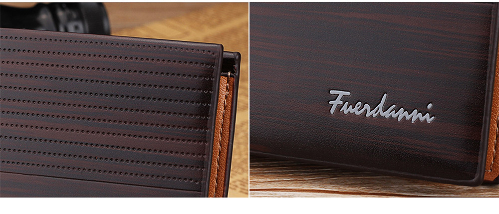 Business Style Genuine Leather Frosted Wallet with Two-folding and Multiple Cards Design for Men 2