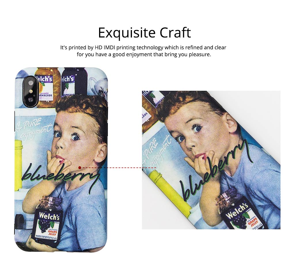 Mobile Phone Case with Vintage Blueberry Boy Design, Fully Enclosed Matte Soft Shell for iPhone 6s, 6sp, 7p, 8p, XS, XR 8