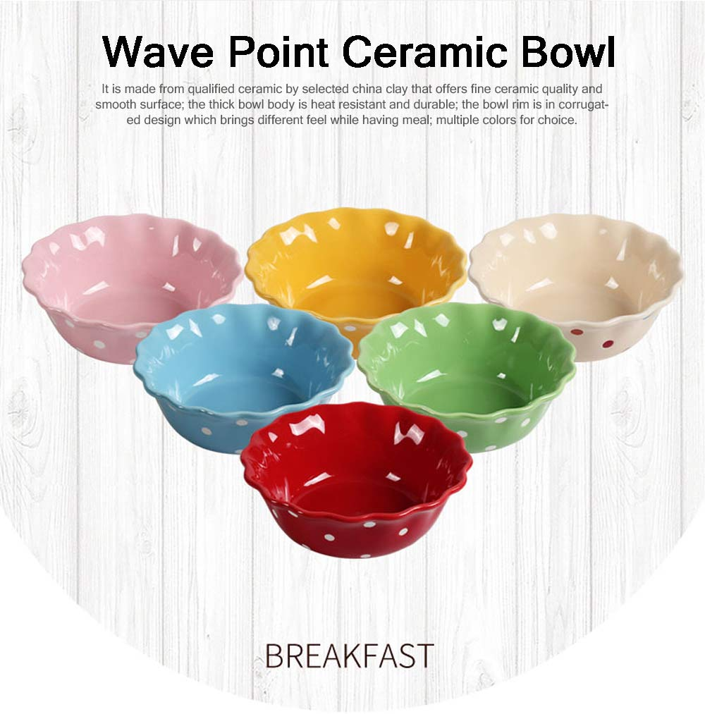 Colorful Wave Point Ceramic Bowl, Creative Mixing Japanese Style Ceramic Bowl for Stand Mixer Salad Bowl Mediterranean Style Tableware 0