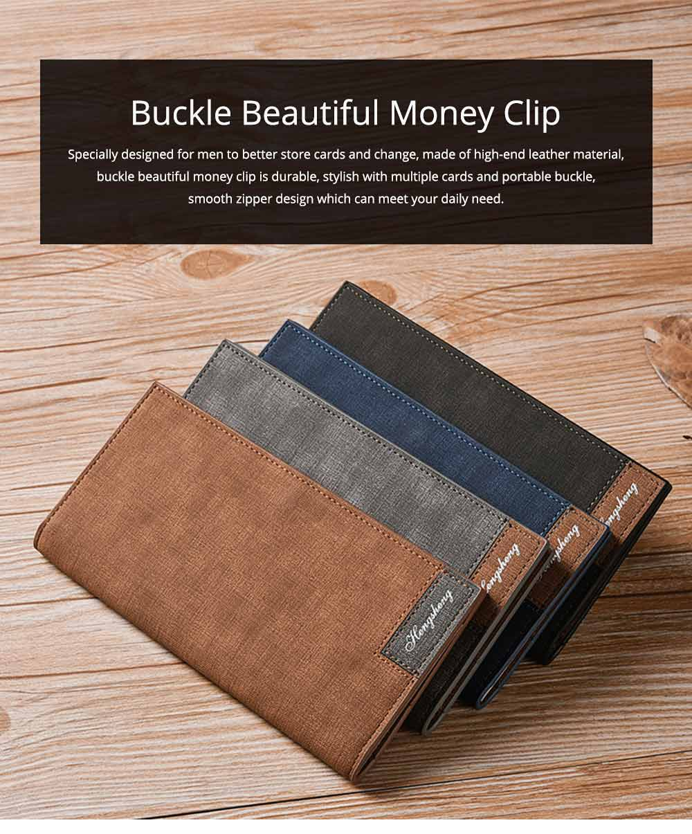 Men' Long Wallets, Buckle Stylish Money Clip with Multiple Cards and Large Capacity for Men 0