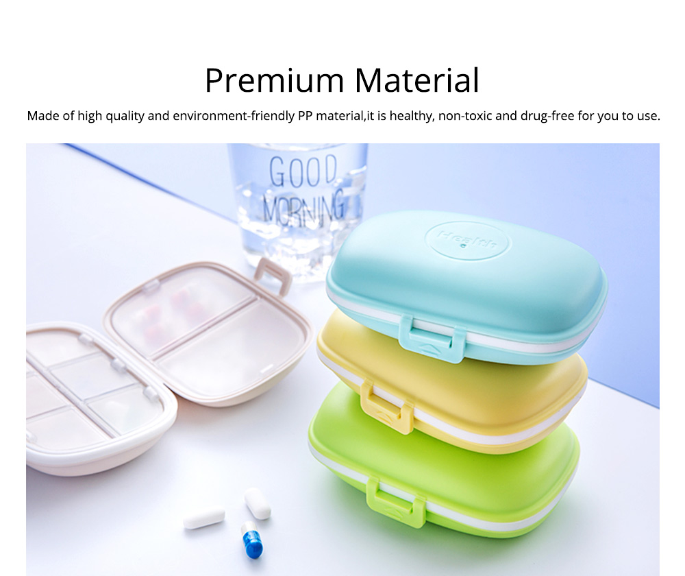 Pure Color 8 Compartment Pill Boxes, Waterproof Weekly Pill Organizer Medicine Container 1