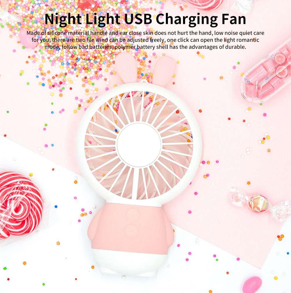 New Rabbit Mini Handheld Fan, Dharma Bear Night Light USB Charging Fan, Outdoor Compact and Convenient Electric Fan 0