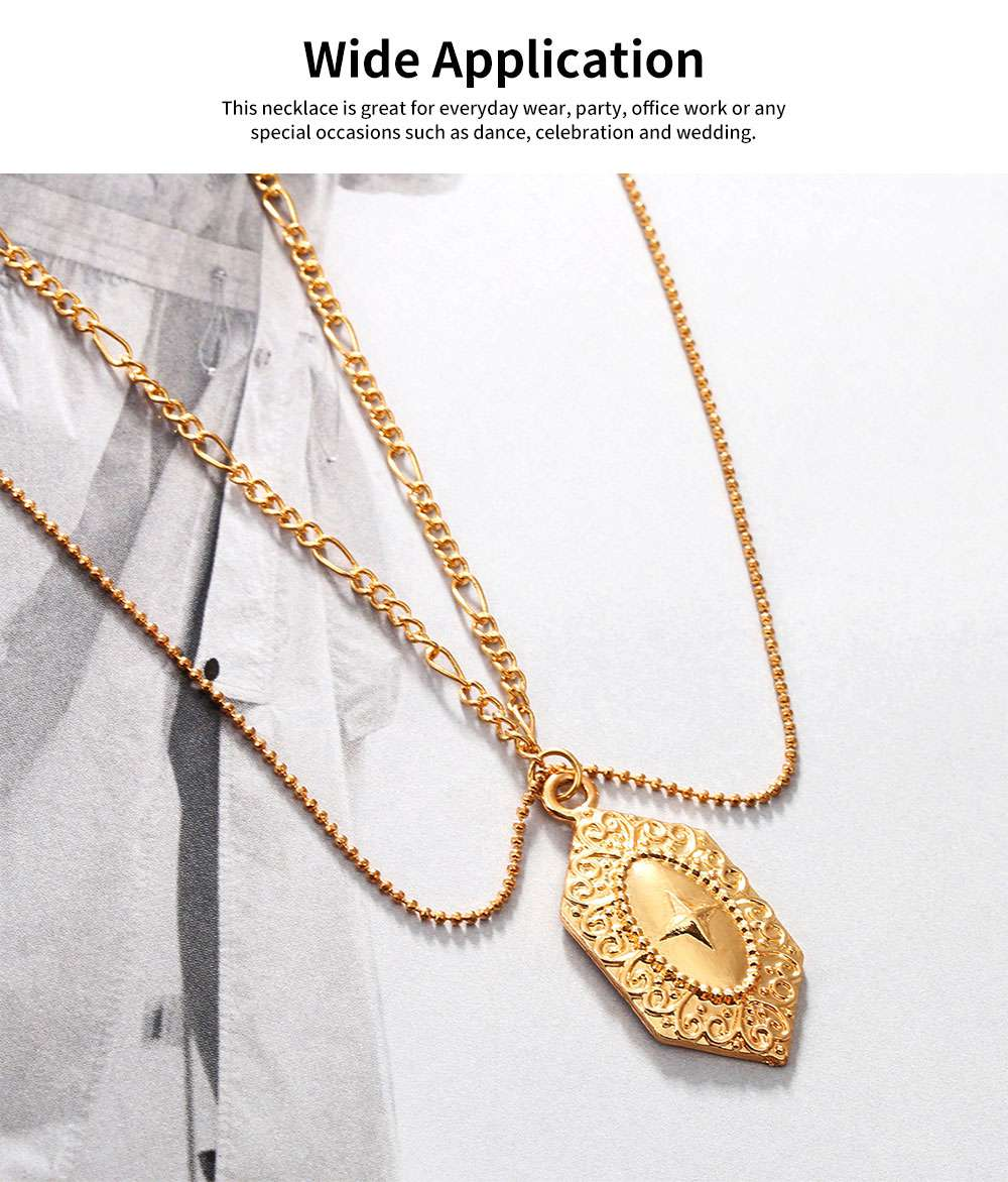 Women Necklace Double-layer Gold Medal Pendant Charm Necklace Religious Fine Jewelry Necklaces for Woman 1