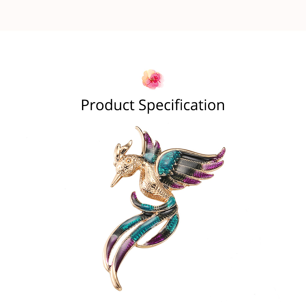 Little Dainty Phoenix Bird Enamel Painted Alloy Breastpin for Women, Colorful Dripping Scarf Clothes Decoration Accessories Animal Brooch 6