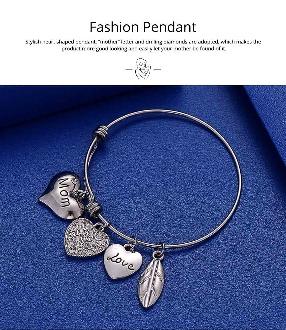 Stylish Heart Model Diamond Drilling Stainless Steel Bracelet, Mother Love Letter Electroplating Adjustable Silver Chain Bangle for Mothers 4
