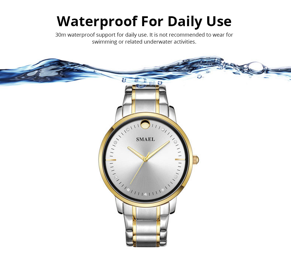 SMAEL Men's Fashion Casual Quartz Watch Outdoor Waterproof Calendar Wristwatch With Stainless Steel Strap 5