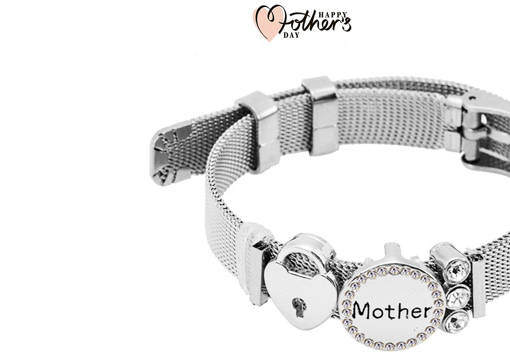 Stylish Heart Lock Model Mother Love Diamond Drilling Stainless Steel Bracelet, Family Love Electroplating Silver Gold Chain Bangle for Mothers 3