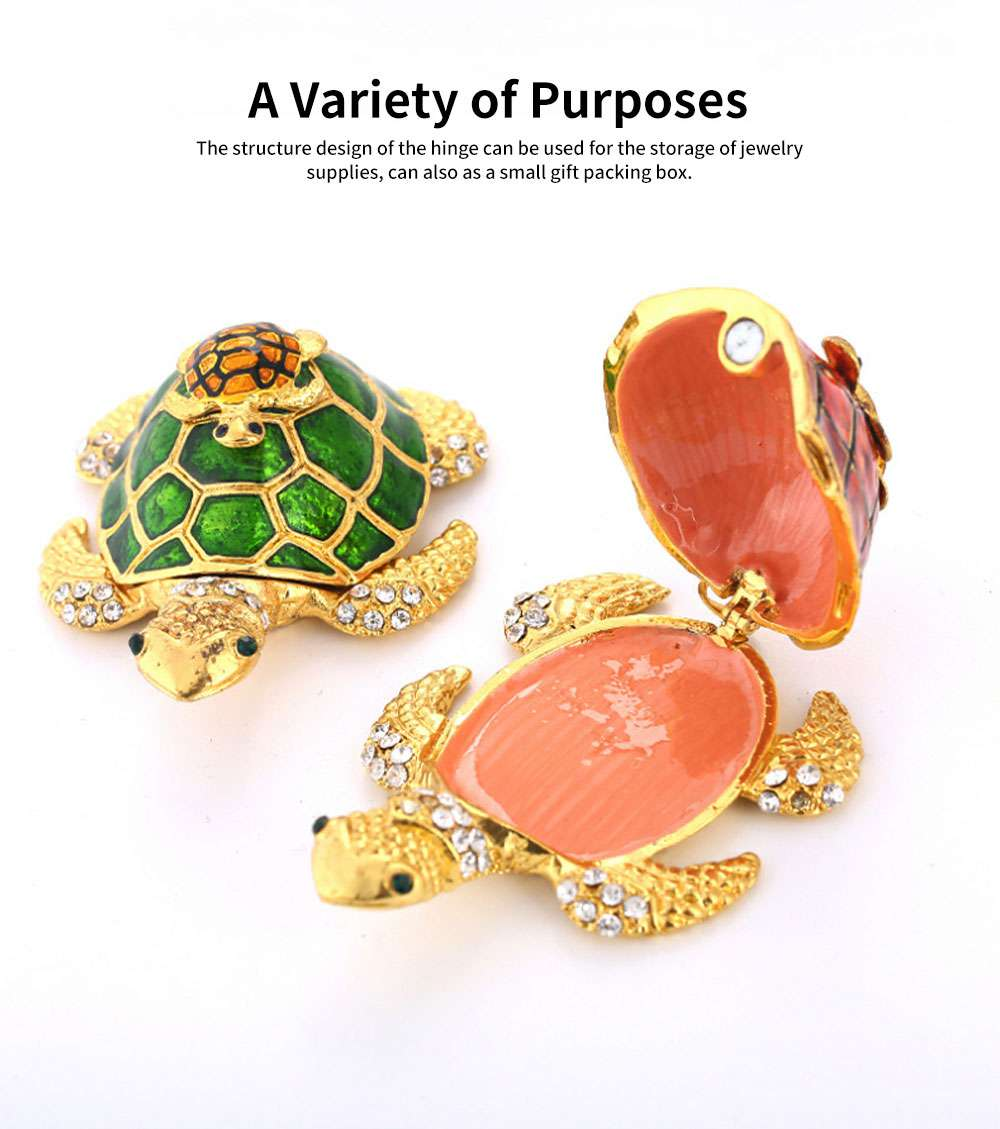 Southeast Asian Style Enamel Painted Crafts, Diamond Mother and Child Turtle Home Decoration, Exquisite Small Jewelry Box 3