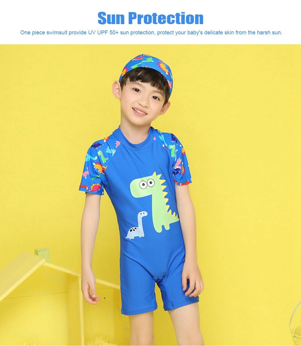 Little Boys One Piece Sunsuit Cute Short Sleeve Surfing Swimsuit Dinosaur Monster Children's Swimsuit with High Elasticity 1