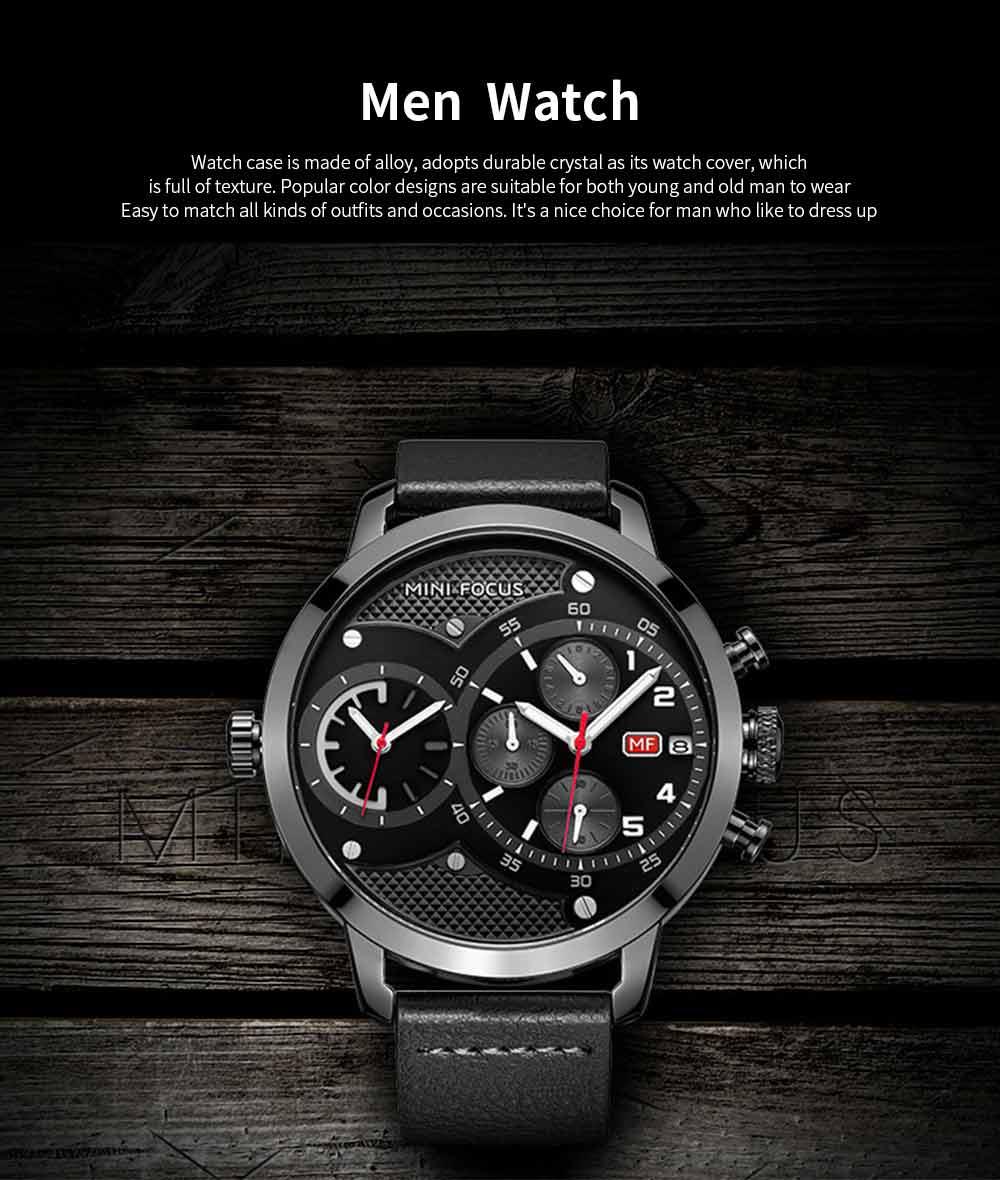 Leather Belt Men Watch, Luminous Waterproof Men Watch, Quartz Men Watch with Double Movement and Calendar 0