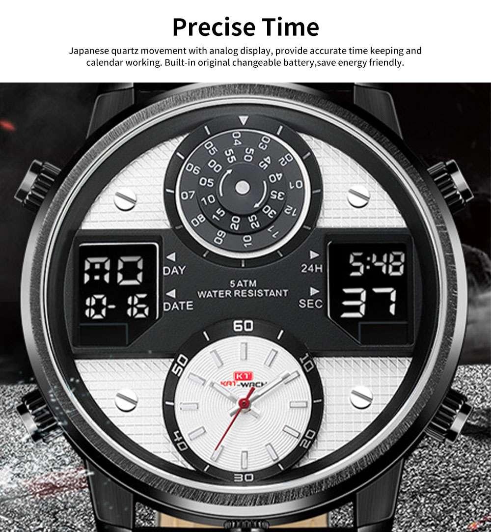 Men's Quartz Watch with Date Genuine Leather Band Minimalist Wrist Watches Nightlight Waterproof 50M Sports Watches for Men 1