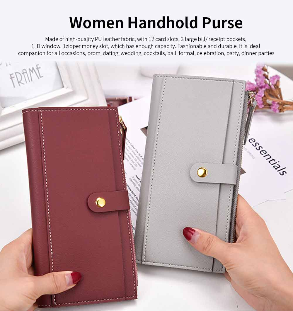 Ladies Snap Button Purse, Long Tri-fold Credit Card Purse Card Holder 0