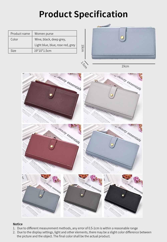 Ladies Snap Button Purse, Long Tri-fold Credit Card Purse Card Holder 5