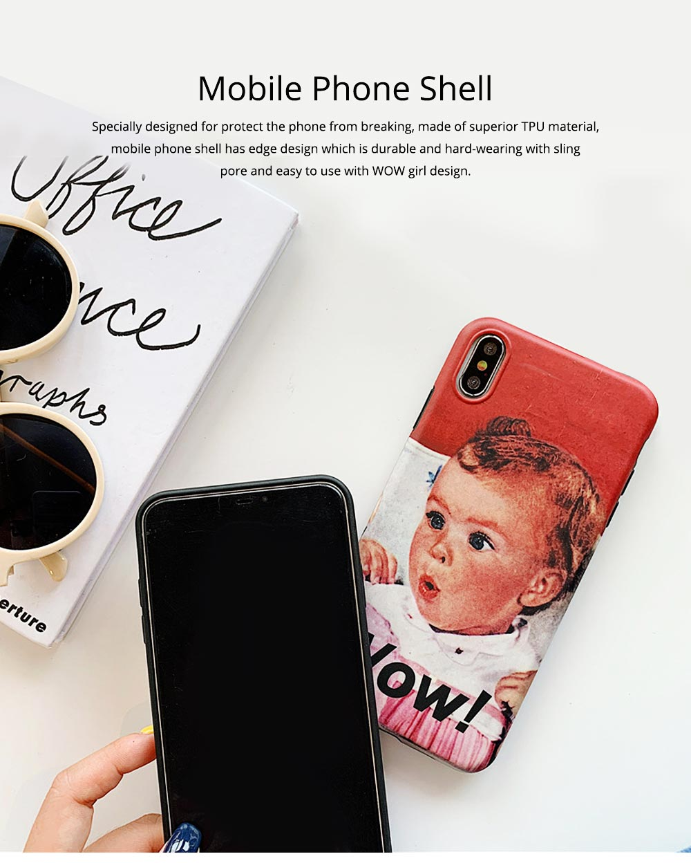 Cute Vintage WOW Girl Phone Shell for iPhone 6/6s, 6p/6sp, 7p/8p, X/XS, XR 0