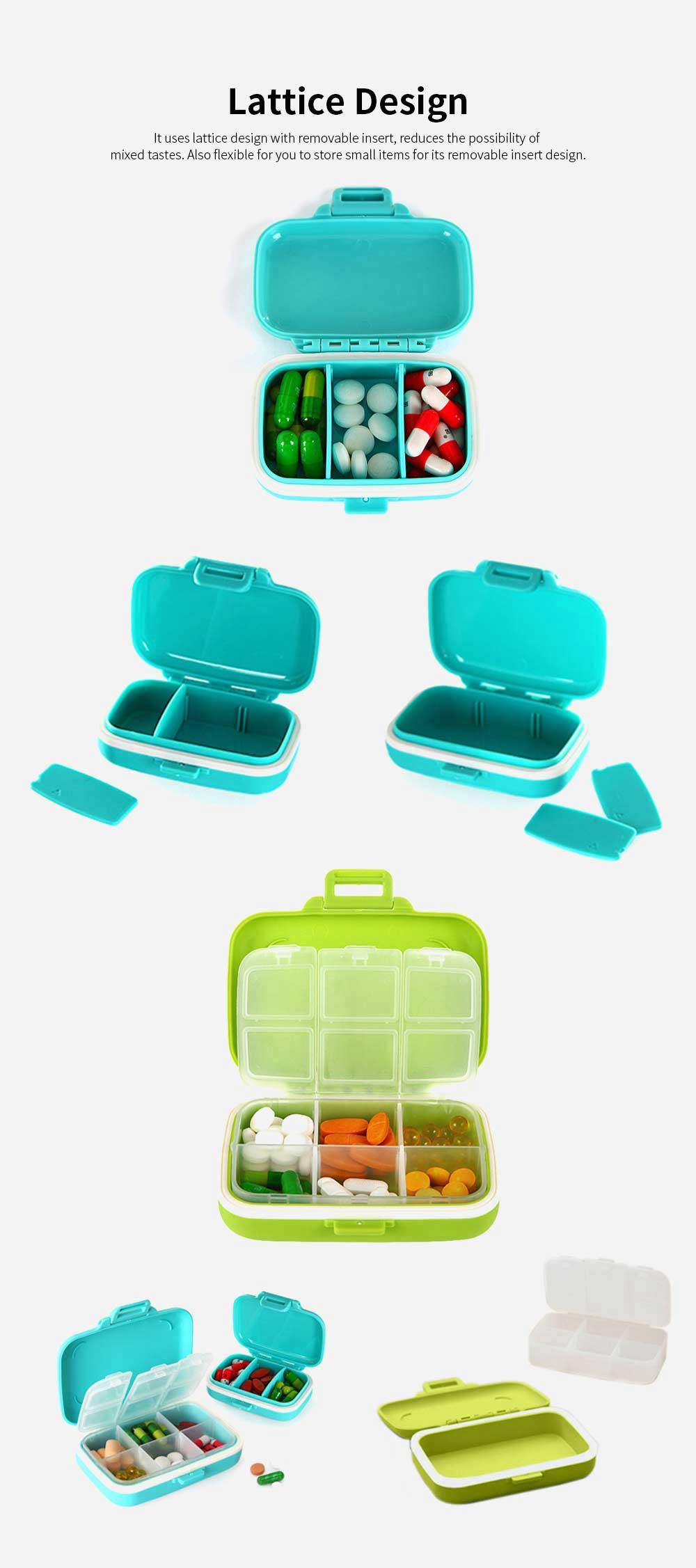 Food Grade Odorless Medicine Box, Sealed Gasket Pill Case, Detachable Insert Weekly Pill Box for Elderly Children Office Worker 4