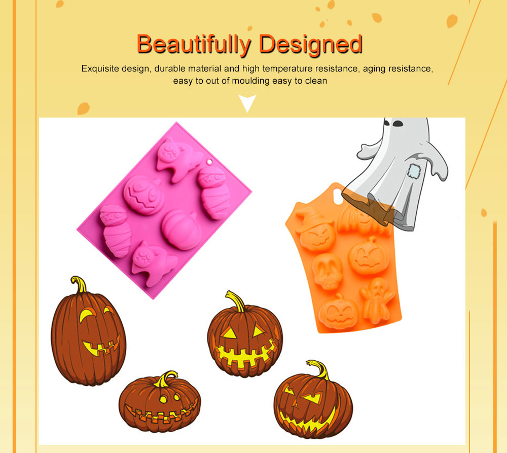 Silicone Cake Mould with Portable Hole, Halloween Style Baking Cake Mold, High Temperature DIY Baking Utensils 1