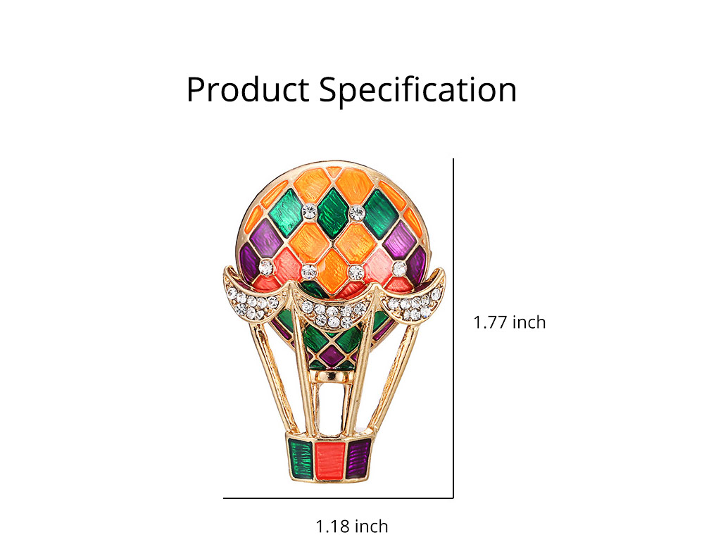 Colorful Enamel Painted Hot Air Balloon Model Brooch for Ladies, Stylish Diamonds Drilling Dripping Breastpin 6