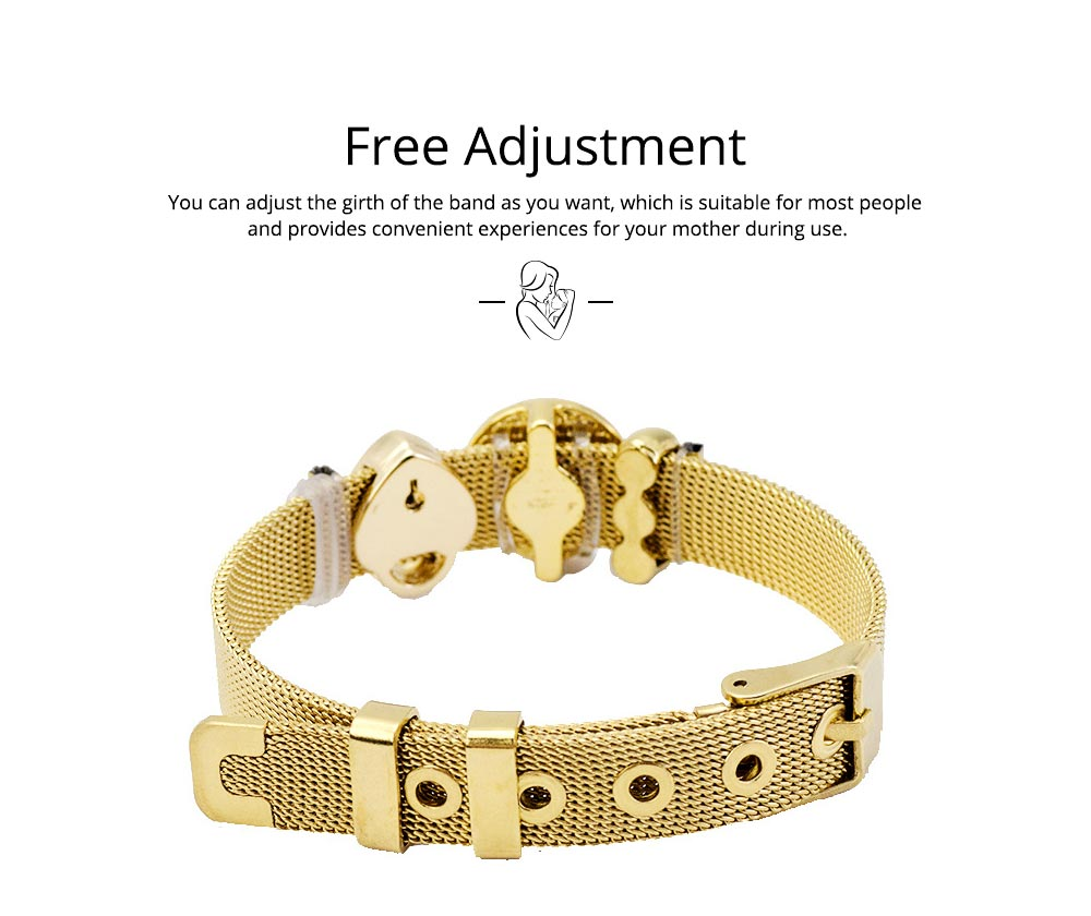 Stylish Heart Lock Model Mother Love Diamond Drilling Stainless Steel Bracelet, Family Love Electroplating Silver Gold Chain Bangle for Mothers 4