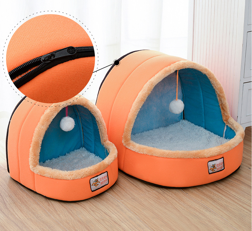 Dogs Cats Home Zipper Soft Durable Anti-skid Mongolian Yurt Shaped Pet Nest Autumn and Winter Thickened Thermal Tent Bed 4