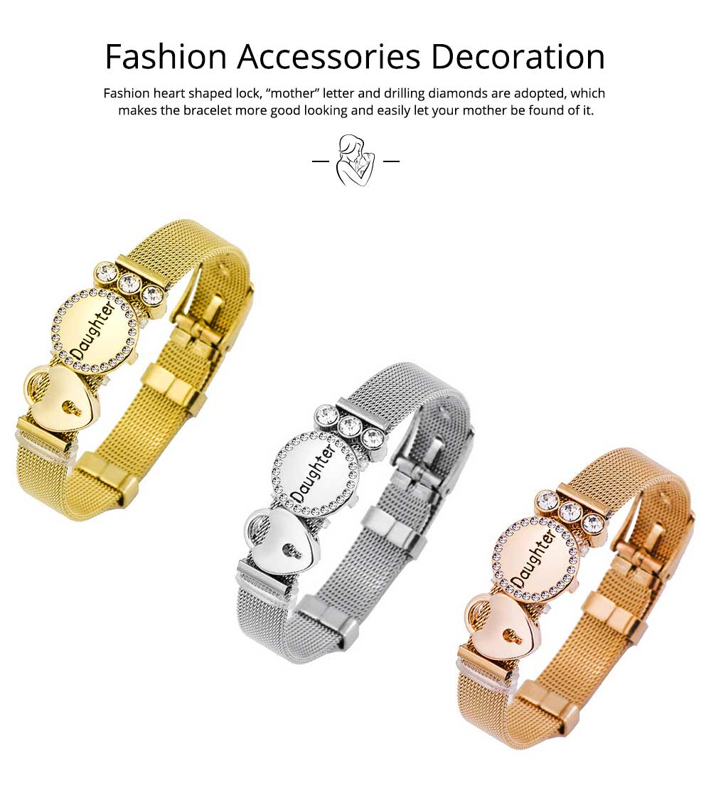 Stylish Heart Lock Model Mother Love Diamond Drilling Stainless Steel Bracelet, Family Love Electroplating Silver Gold Chain Bangle for Mothers 5