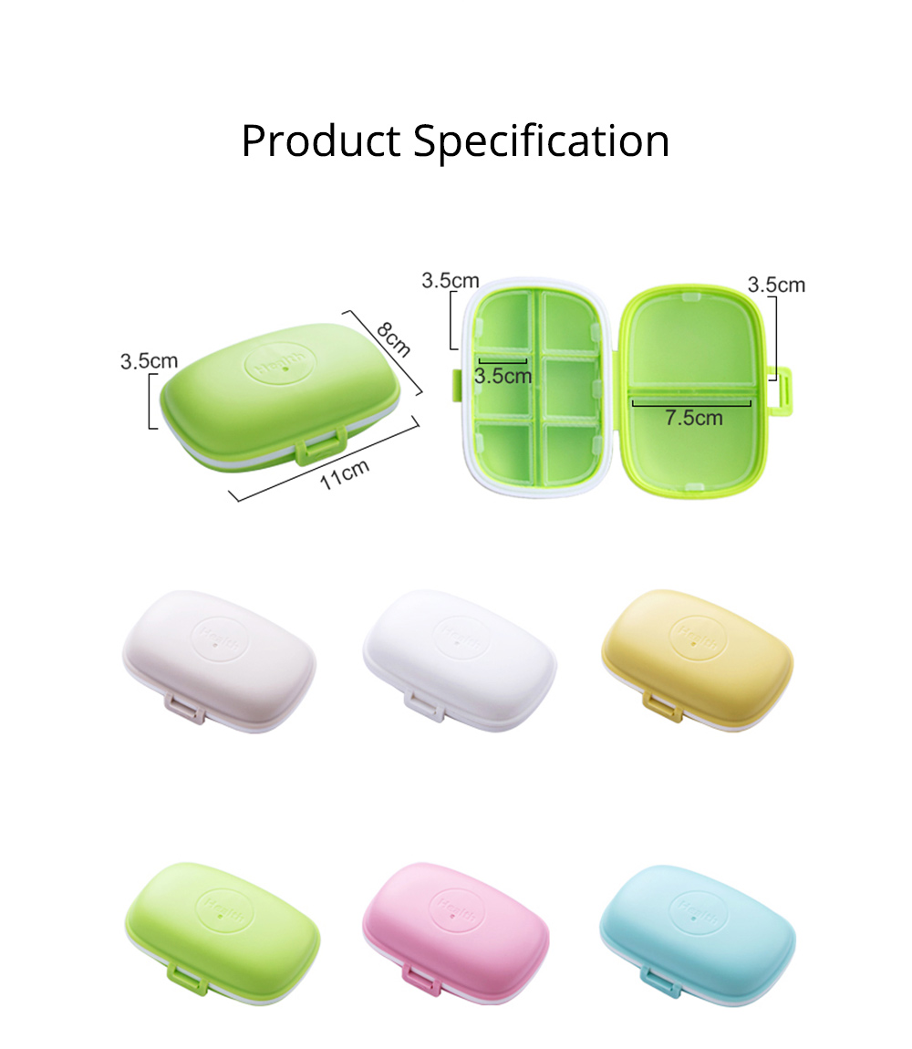 Pure Color 8 Compartment Pill Boxes, Waterproof Weekly Pill Organizer Medicine Container 7
