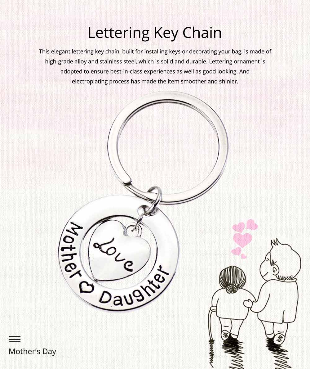 Delicate Love Lettering Alloy Stainless Steel Kay Chain for Men Women, Stylish Bag Decoration Key Accessory Gifts for Mother 0
