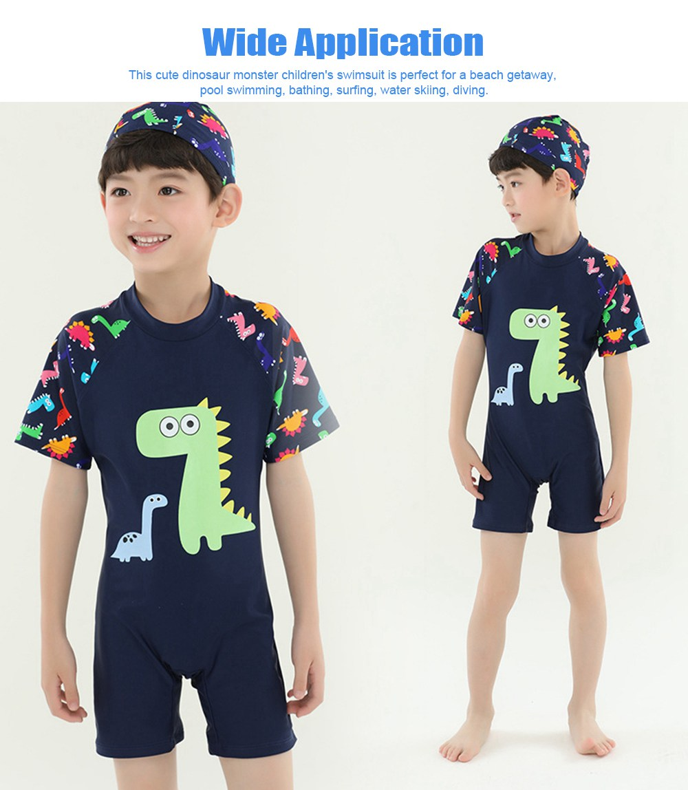 Little Boys One Piece Sunsuit Cute Short Sleeve Surfing Swimsuit Dinosaur Monster Children's Swimsuit with High Elasticity 5