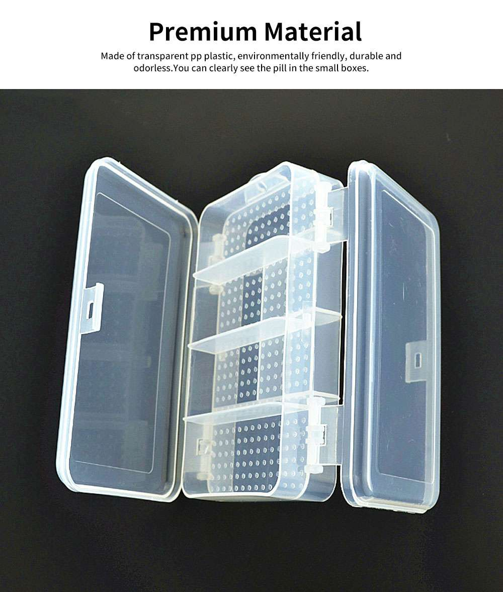 10 Slots Transparent Weekly Pill Box, Safe PP Plastic Storage Box Portable Pill Organizer Case for Travel Home Use 2