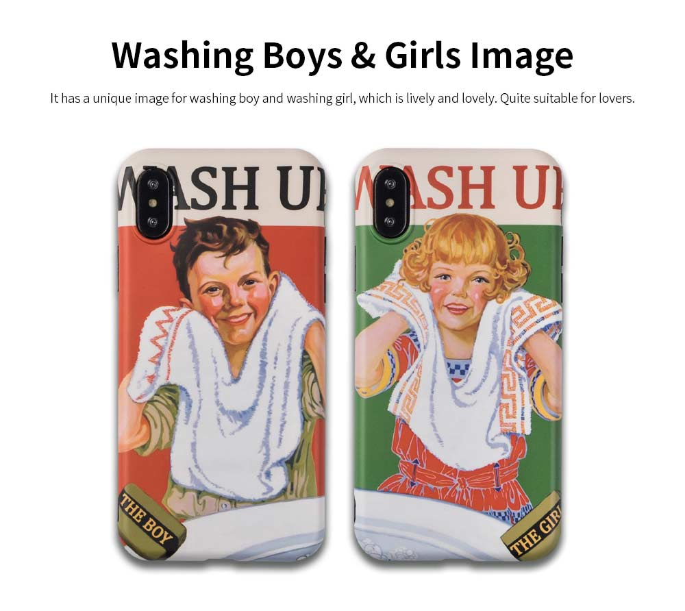Washing Boy & Washing Girl Original Phone Case, iPhone Case for Lovers, Phone Cover Case for iPhone X, XS, MAX, XR, 6S, 7, 8Plus 3