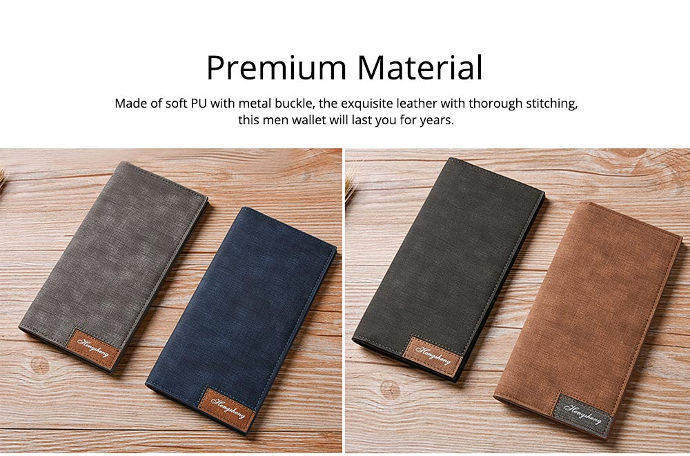 Men' Long Wallets, Buckle Stylish Money Clip with Multiple Cards and Large Capacity for Men 1