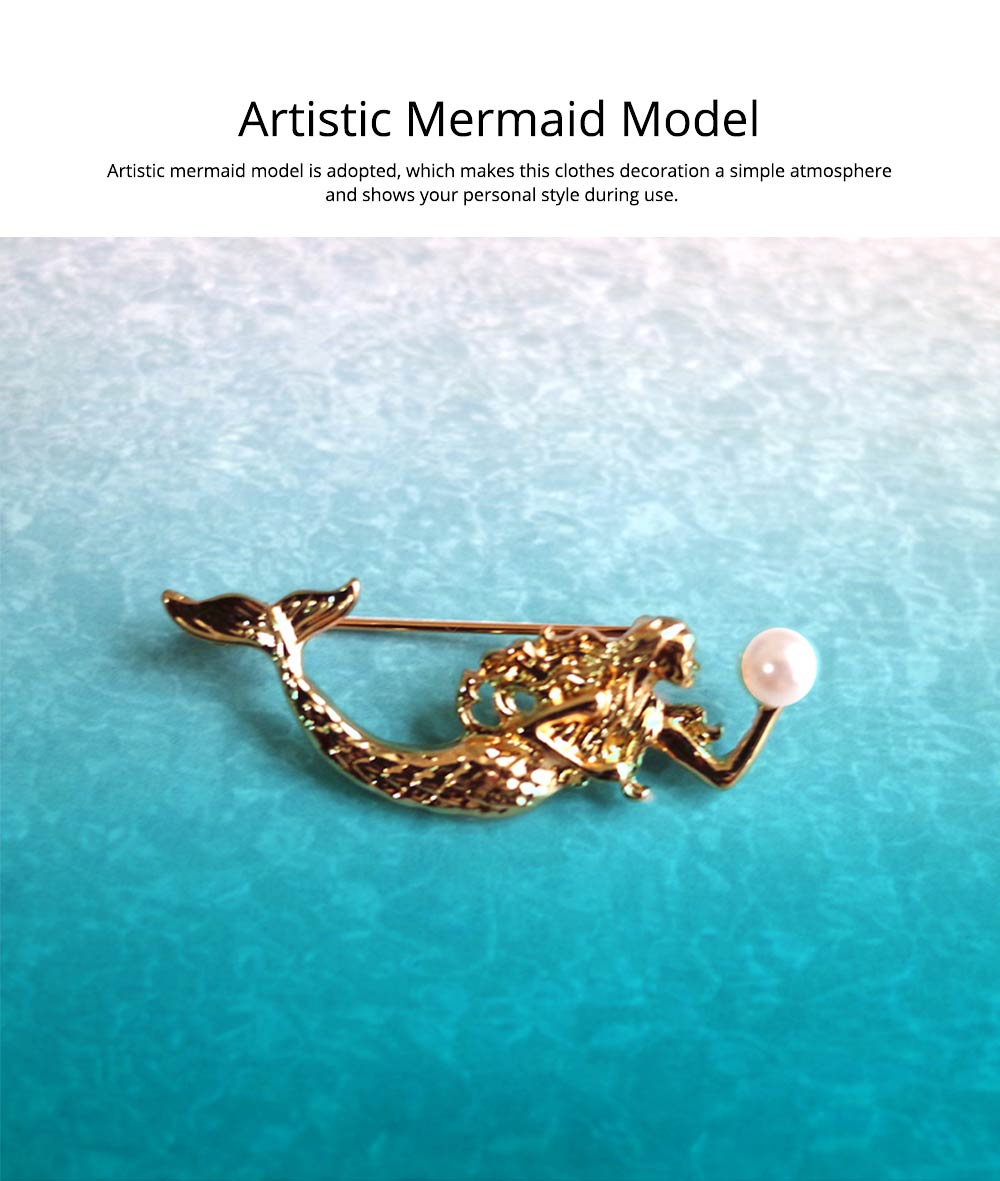 Dainty Cartoon Animal Mermaid Alloy Breastpin for Women, Bag Scarf Clothes Decoration Accessories Brooch with Pearl Ornament 3