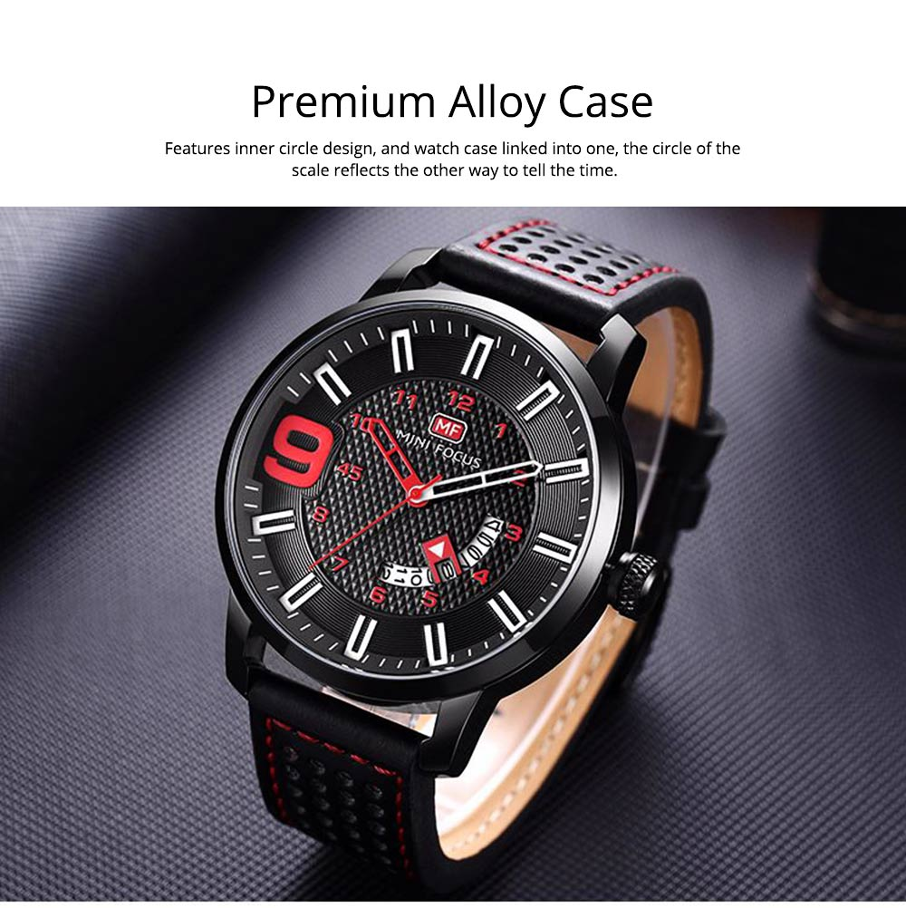 Multifunctional Smart Electronic Watch Large Dial Rotation Calendar Design, Water-poof Digital Watches with Leather Strap 4