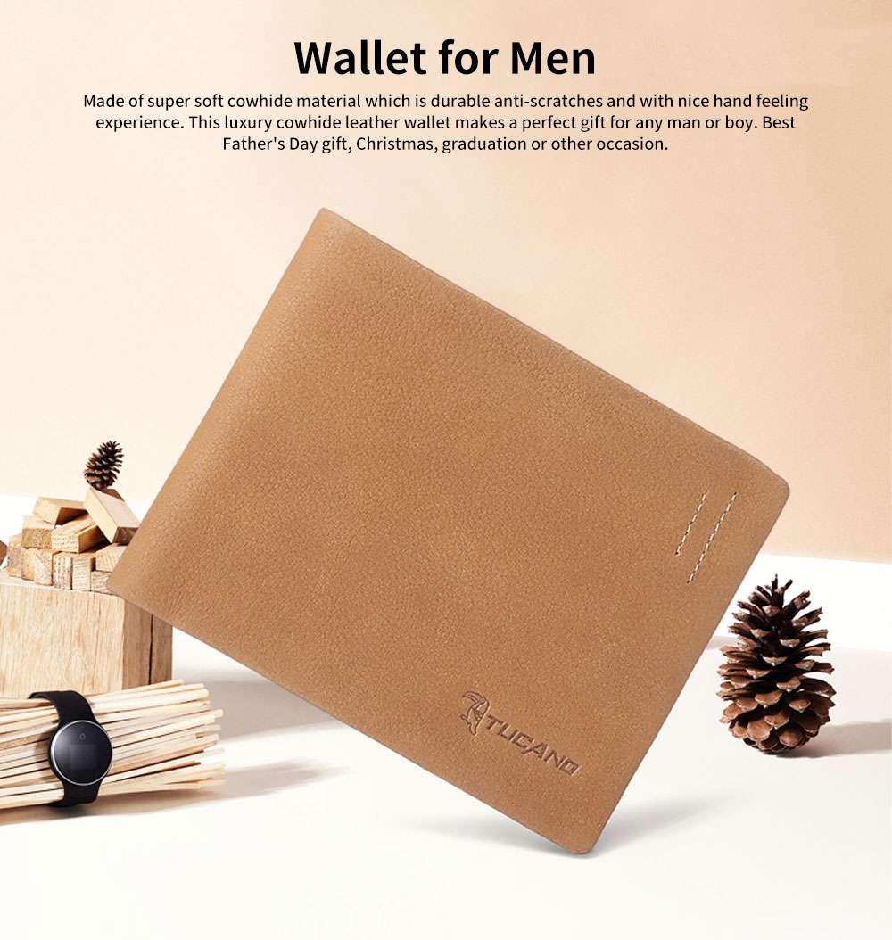 Men's Wallet RFID Blocking Genuine Leather Wallets Slim Bifold Top Flip Money Card Clip Gifts for Male Men 0