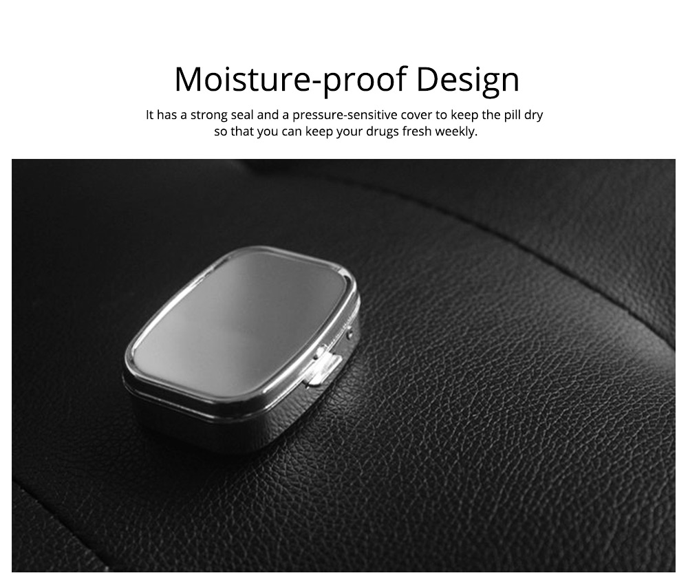 Portable Stainless Steel Moisture-proof Pill Box with Mirror Double Compartment Design & Press Type Bullet Cover Function Pill Case 3