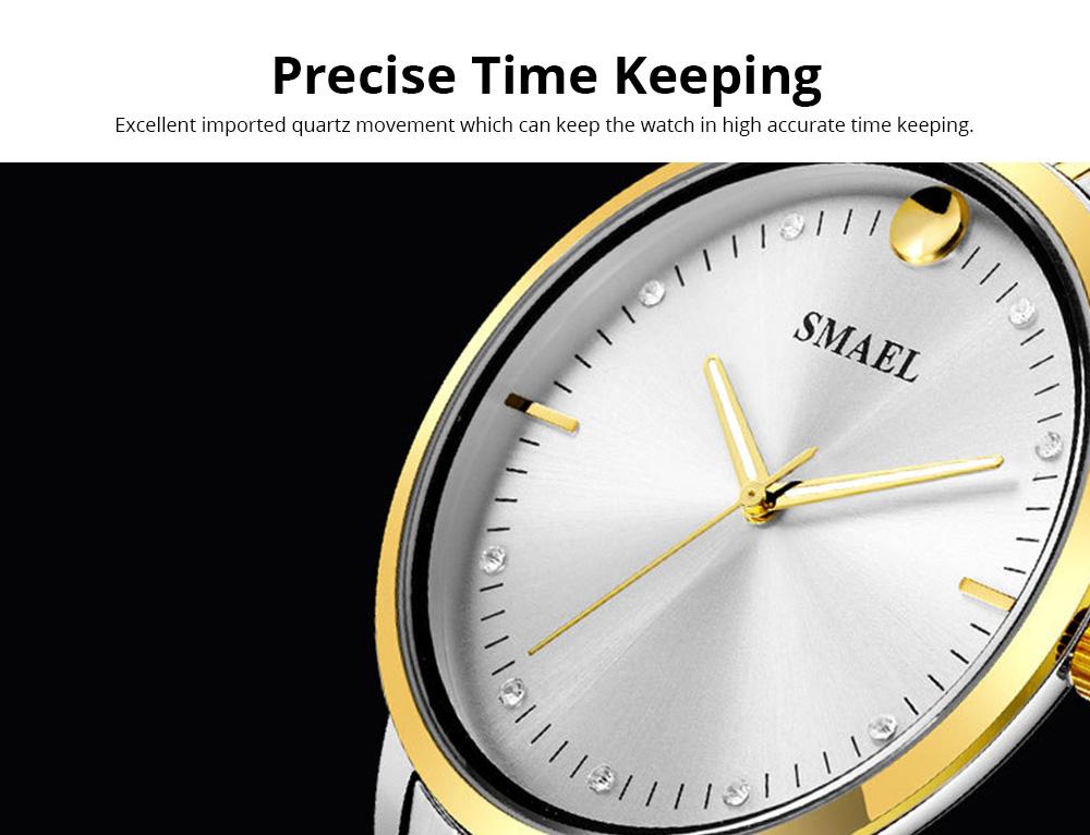 SMAEL Men's Fashion Casual Quartz Watch Outdoor Waterproof Calendar Wristwatch With Stainless Steel Strap 1
