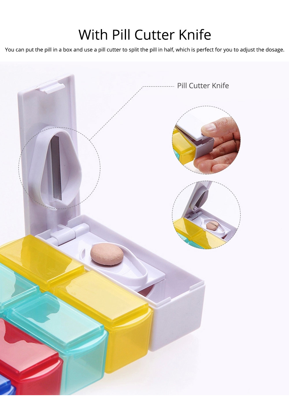 7 Day Detachable Pill Organizer with Pill Cutter, Travel Portable Weekly Medicine Dispenser 5