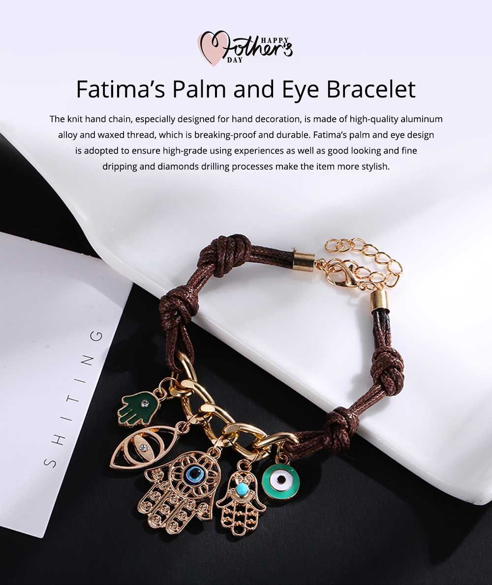 Classical Stylish Fatima's Palm and Eye Model Knit Hand Chain, Durable Shiny Aluminum Alloy Bracelet for Men Ladies Women 0