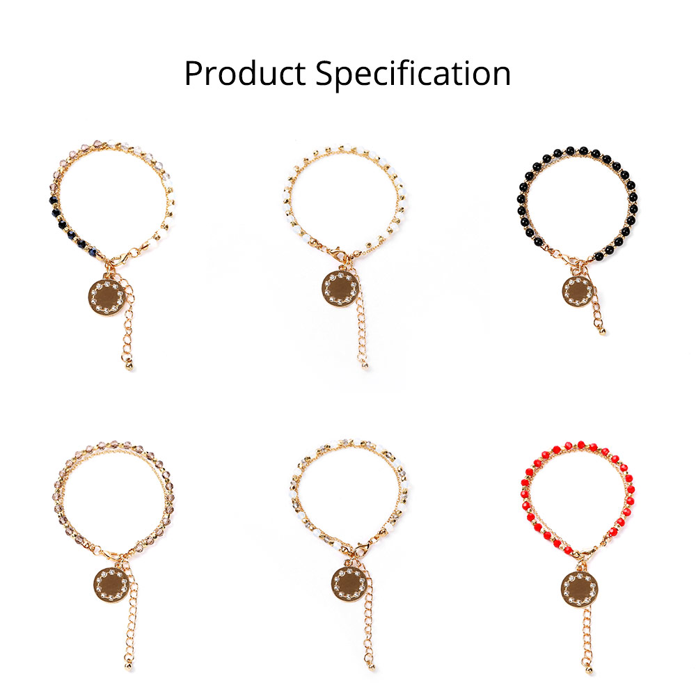 Bohemian Style Diamond Insert Decoration Stainless Hand Chain, Durable Solid Alloy Delicate Crystal Beaded Bracelet for Ladies Women 6