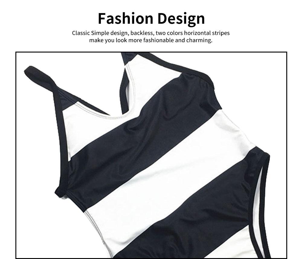 Womens Bikini V-Neck Stripe Padded Backless Soft Beachwear One Piece Swimsuits High Waist Bathing Suit 1