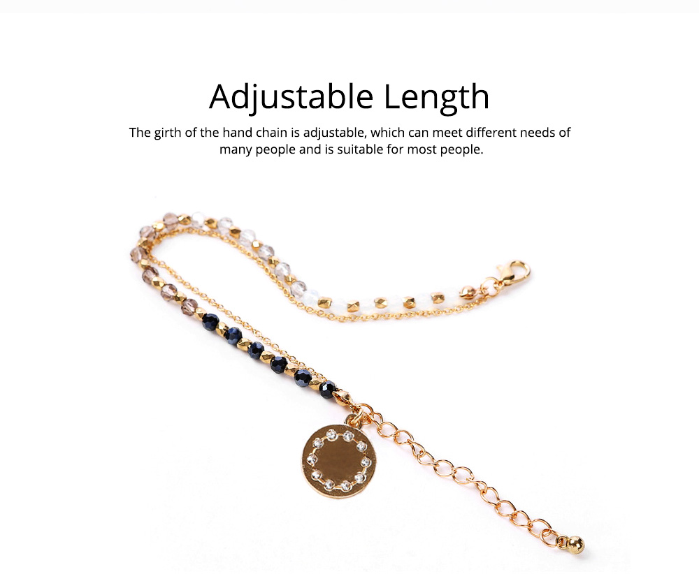 Bohemian Style Diamond Insert Decoration Stainless Hand Chain, Durable Solid Alloy Delicate Crystal Beaded Bracelet for Ladies Women 3