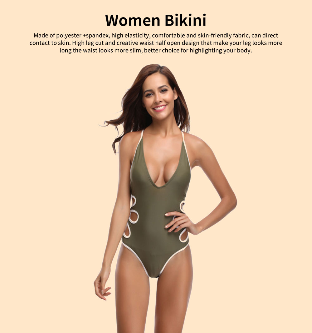 Women's Bikini Deep V-Neck Padded Backless Pure Color Beachwear One Piece Swimsuits High Waist Bathing Suit for Lady Women Girl 0