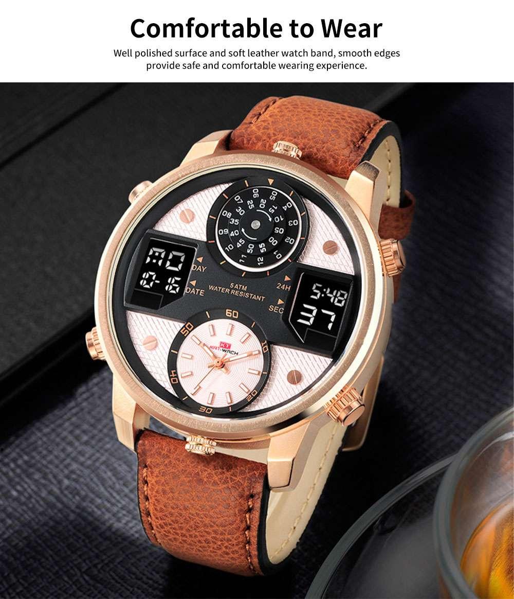 Men's Quartz Watch with Date Genuine Leather Band Minimalist Wrist Watches Nightlight Waterproof 50M Sports Watches for Men 3