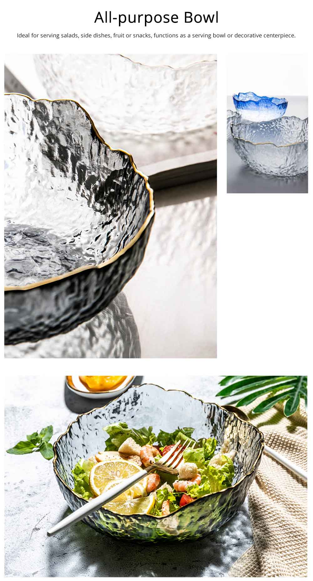 Creative Transparent Glass Fruit Bowl European Modern Dessert Bowl Vegetable Salad Bowl 3